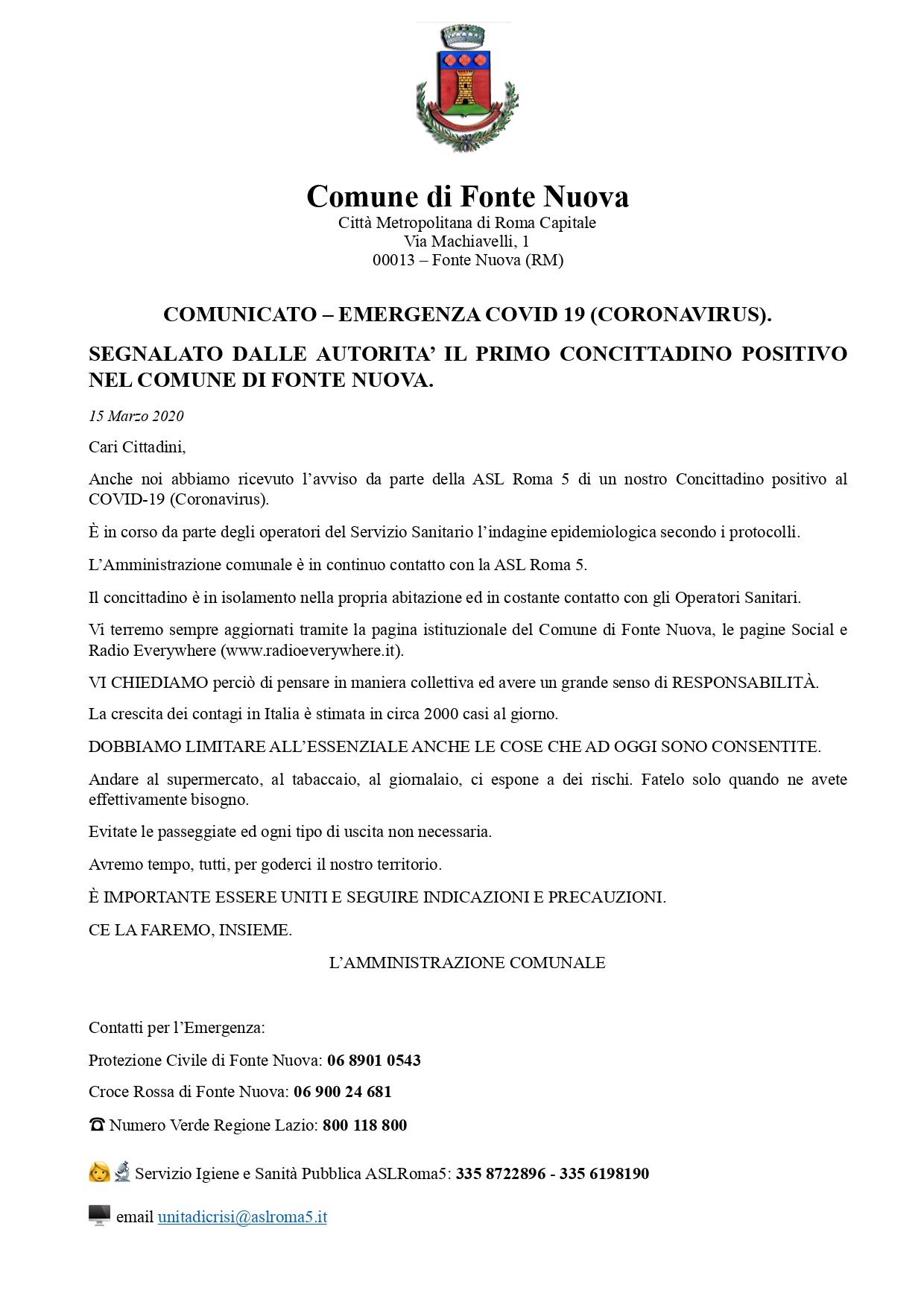 CORONAVIRUS: primo caso anche a Fonte Nuova - Tiburno.tv Tiburno.tv